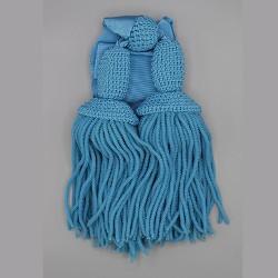Sciarpa originale principe di piemonte con frange in canutiglia celeste o blu scuro