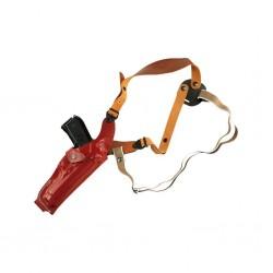 Fondina ascellare verticale regolabile in cuoio sformato con sgancio rapido
